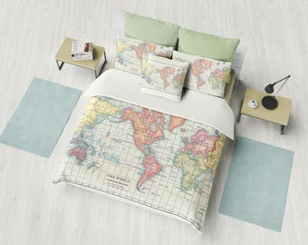 World Map Duvet Cover - map of continents - bed - bedroom, travel decor, cozy soft, pastels, blue, =cream, green,  winter, warm, wanderlust