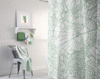 Green Arctic Map Shower Curtain - Arctic circle - Canada -  Travel decor, Bathroom - maps, unique, North Pole, green and white