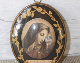 Vintage Small Oval Framed Religious Print - Our Lady of Dolour, Souvenir Saint Anne De Beaupre