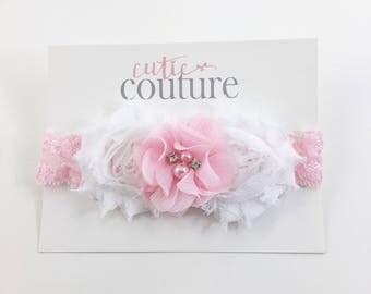 White and pink Headband, White Headband, Pink Headband, pink Flower girl headband, White Headband, pink birthday headband, pink clip