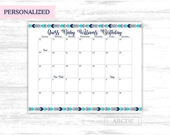 Due date calendar Personalized Aqua Navy Woodland boho tribal Baby Shower Guess Baby Birthday predictions Due Date Calendar (PDWSI511)