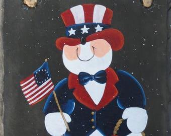 Hand Painted USA SNOWMAN Slate