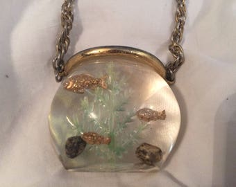 Vintage Castlecliff RARE Fishbowl with Fern and Rocks Lucite Necklace