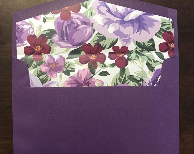 5x7 A7 Metallic Shiny Wedding Invitation Envelopes (Choose Color) & Purple Lavender Floral Flower Envelope Liner – NOT Assembled