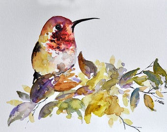 PRINT Of Watercolor Bird Painting, Red Yellow Hummingbird 6x8