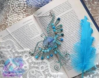 "Necklace ""Bird""   pendant, bird necklace, agate pendant, birdie pendant, wire wrap, wire necklace, agate bird, elvish jewelry, elven"