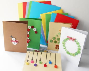 Christmas Card Making Kit, DIY Button Making Package, Fun Present Idea, Design Your Own Greeting Cards, Family Gift Present, Embellishments