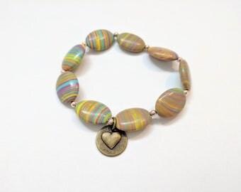 Marbleized Rainbow Beaded Stretch Bracelet