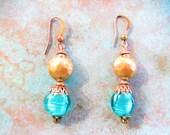 Aqua blue earrings, brass earrings, boho earrings, spring earrings, aqua earrings, fashion earrings, gift idea for women, teal glass earring