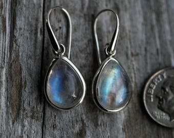 Rainbow Moonstone Earrings - Rainbow Moonstone Dangle Earrings - Rainbow Moonstone Dangles - Rainbow Moonstone Earrings - Sterling Silver