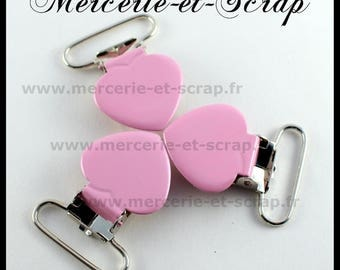 SET of 10 pink strap pins 25mm heart shape
