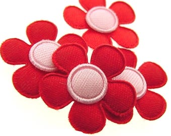 SET of 6 red rose flowers 20mm embellishment applique N20