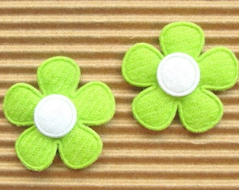 SET of 5 green white flowers 25mm embellishment applique