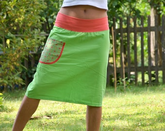 Kord MIDI skirt of bright green green salmon size 40