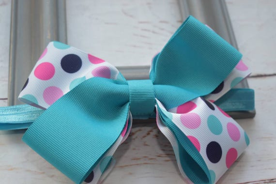 Turquoise and white Polka Dot Bow - Baby / Toddler / Girls / Kids Headband / Hairband / Hair bow / Barrette / Hairclip
