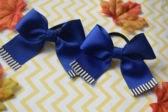 Pair of Royal Blue Grosgrain Christmas hair ties - Kids / Toddlers / Girl pony tail holders / scrunchies / Flowergirls bow / Hairbands