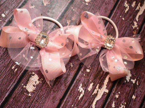 Pair of Pink Grosgrain and tulle bow with diamante / pigtail bows / ponytail ties / flowergirl bow / birthday bows / scrunchies / hair ties