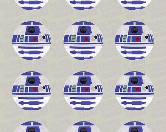 Star Wars R2D2 Edible Icing Cupcake Decor Toppers - SW4
