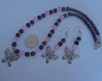 Purple Necklace Set,Butterfly Necklace Set, Mothers Day Gift,Butterfly Earrings,Purple Jewelry,Purple Earrings ,February Birthday