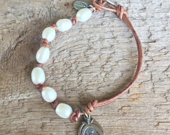 Pearl and Leather Bracelet with Vintage Religious Medal camel tan, Antique Brown OR Natural Black Leather