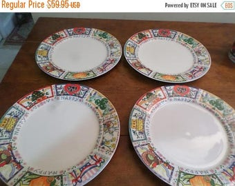 Save 25% Now Vintage Tabletops Unlimited Dinnerware Happy Everything Pattern Hard to Find Set of 4 Dinner Plates