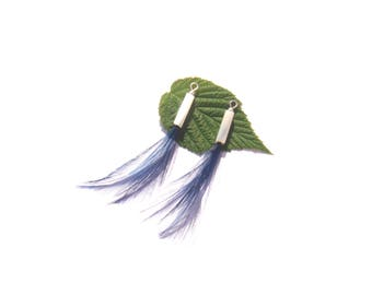 Blue dyed Rooster on Pearl tubes: 2 pendants 6.4 cm in height / 2 dangle 6.4 cm height