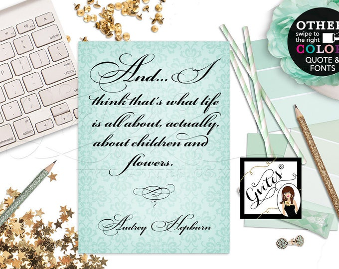 "Audrey Hepburn Quote, home or office decor, party favors gifts at bridal or baby shower, breakfast themed, CUSTOMIZABLE {4x6"" or 5x7""}"