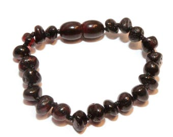 Genuine Baltic Amber Baby Teething Bracelet Anklet Black Polished Beads 13 - 14 cm/5.1 - 5.9 in