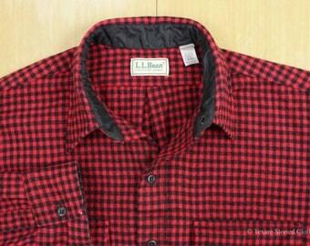 Vintage LL BEAN Made in U.S.A. Shirt Shepherds Check Wool Red Black Large 16-16.5 Plaid Hunting Shacket L.L. Bean