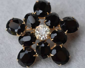 Faceted Black Rhinestone Flower Brooch Vintage