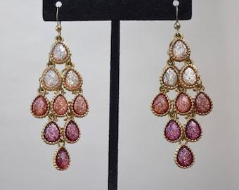 Glitter Boho Dangle Earrings Vintage