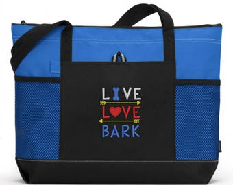 Embroidered Dog Tote Bag/ Embroidered Live Love Bark Dog Tote Bag/  Rescue Dog Tote Bag/ Dog Tote Bag/ Dog Gift/ Dog Gifts