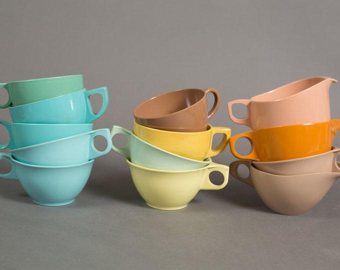 Vintage Melmac Mugs - Set of 13 Melamine Mugs - Eaton's Tecoware Tea or Coffee Cups - Lournay, Rainboware, etc