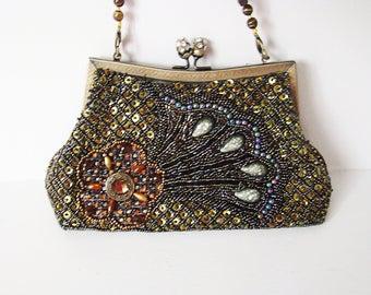 Vintage beaded purse, Bronze, Gold Olive green art deco evening bag