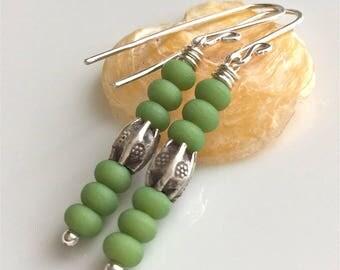 Green Sea Glass Earrings  Beach Glass  Sterling Silver Earrings