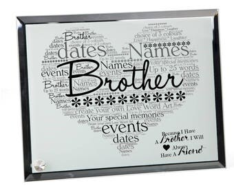 Brother Personalised Word Art Glass Plaque