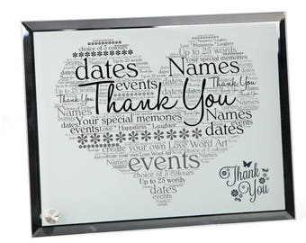 Personalised Thank You Word Art Glass Plaque
