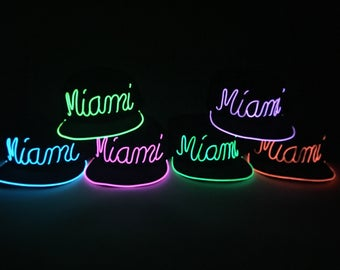 Light Up MIAMI Hat made with El Wire in colors: blue, green, orange, lime green/yellow, pink, purple