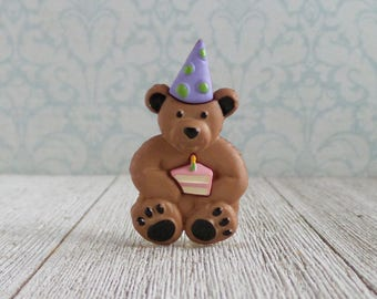 Birthday Bear - Birthday Teddy Bear - Cake - Party Hat - Celebration - Anniversary - Love - Lapel Pin