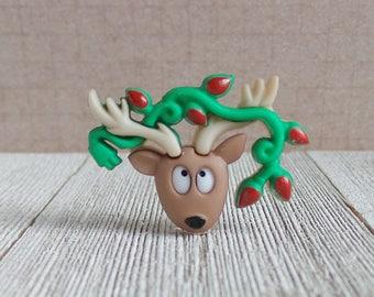 Santa's Reindeer with Christmas Lights - Holidays - Lapel Pin