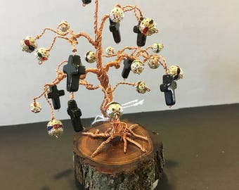 Copper Wire  Bonsai Tree with black glass cross and round glass/metal beads