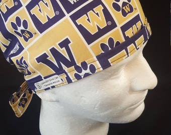 University of Washington Huskies NCAA Tie Back Surgical Scrub Hat