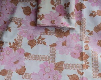 1960's Pink Floral Single Sheet and Matching Pillowcase