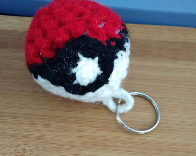 Hand Crocheted Pokeball Keychain - 3 inches