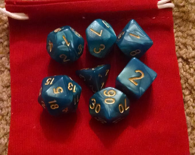 Sea Elven - 7 Die Polyhedral Set with Pouch