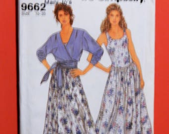Easy to sew dress and top pattern Simplicity 9662 Waist tie top and princess seamed dress pattern Uncut Sizes 10, 12, 14, 16, 18 and 20