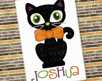 Personalized Halloween Boy Cat with Bowtie or Girly Kitty Cat with Bow or Witch Hat Applique Shirt or Onesie for Boy or Girl