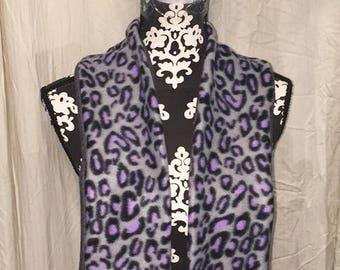 Purple and Gray Leopard Print Pattern Double Sided Fleece Scarf