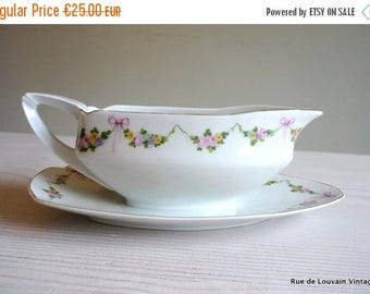50% OFF Antique porcelain sauce boat with flowers and pink ribbons, Art Nouveau style sauce serving bowl