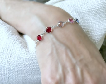 personalized birthstone bracelet swarovski birthstone bracelet 6 swarovski birthstones mother's bracelet mothers jewelry birthstone jewelry